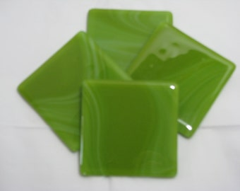 Green Streaked 4X4 Fused Glass Coasters - Set of 4