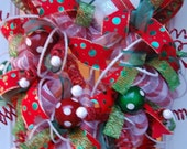 ON SALE Christmas Deco Mesh Wreath, Elf Wreath, Whimsicle Elf Wreath