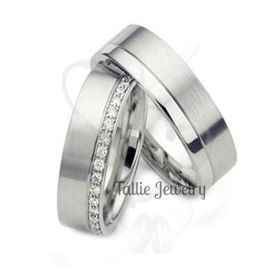 Platinum His and Hers Matching Rings Set,Couple Wedding Rings ...