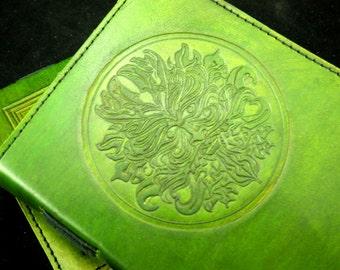GREEN MAN Wicca Pagan Book of Shadows Grimoire - Handmade Leather Journal - Freepost UK