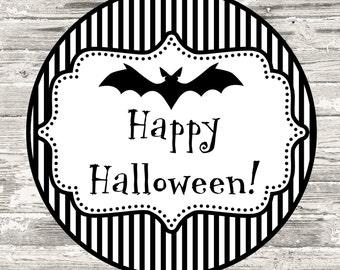 Halloween Black and White Stripe Cupcake Topper Printable