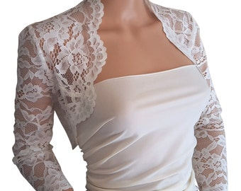 Pale Ivory flounced Bolero with 3/4 sleeves in sizes 8 to 18 by Lowlitafashions