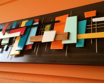 Mid Century Modern Abstract Wall Art Sculpture Painting Retro Eames Era Tiki