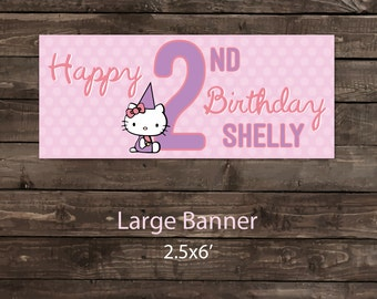 Birthday Party Banner, Party Banner, Birthday Party Sign, Birthday Banner, Hellow Kitty Banner, Hello Kitty Birthday Party Banner (vinyl)