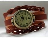 """Bracelet cuir avec horloge """"Chocolat au lait"""""""
