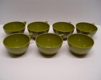 Set of 7 Allied Chemical Melamine Coffee Cups, Avocado, Melmac