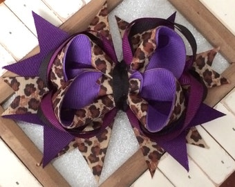 Purple Leopard Stack Hair Bow