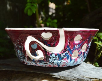 READY TO SHIP! Yarn Bowl Extra Large with Sculptured Hearts with Free Book of Your Choice