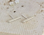 Silver Bar Earrings // Silver Stud Earrings // Minimalist and Modern // Eco Friendly Recycled Silver // Gift for Her