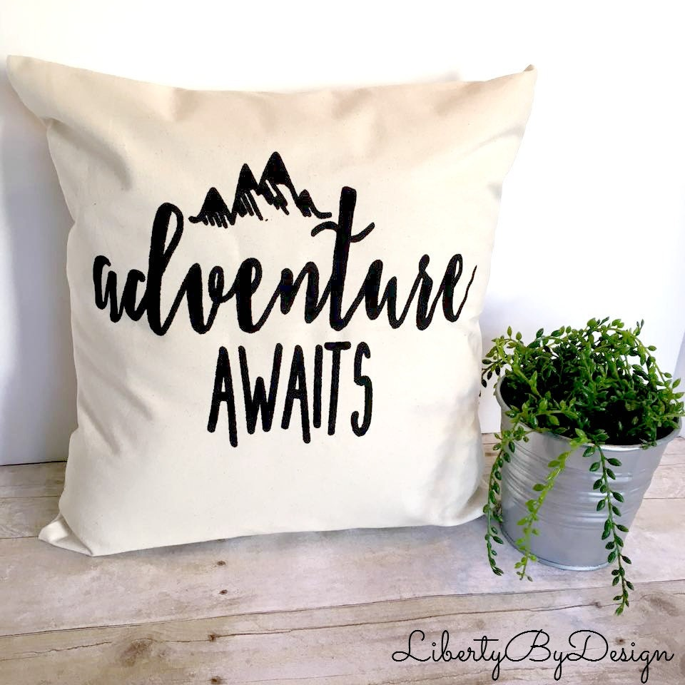 Pillow Cover Adventure Awaits 16x16 Cushion Cover Graphic