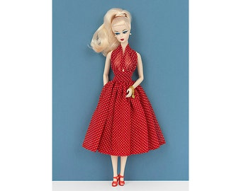 Red pin-up dress for Barbie and Poppy