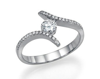 "14k White gold Swirl Diamond Engagement Ring 0.52 carat H/SI1 ""Endless Devotion LG"" Round-Cut natural diamond- Unique diamond ring"
