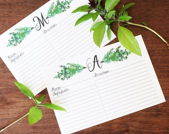 Recipe Card, Herbs, Botanicals, Initial, Monogram, Housewarming Gift, Wedding Gift, Gift for Her - PERSONALIZED - 4x6 Inches