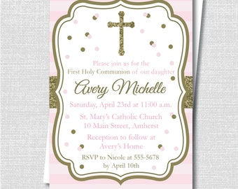 Pink and Gold Sparkle First Communion Invitation - First Communion Celebration - Digital Design or Printed Invitations - FREE SHIPPING