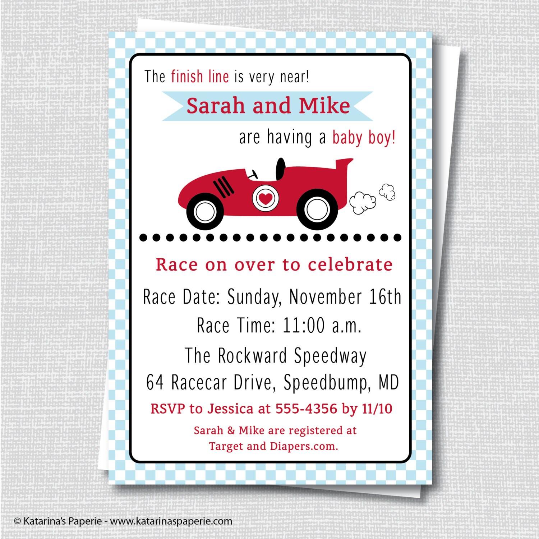 boy race car baby shower invitation boy baby shower