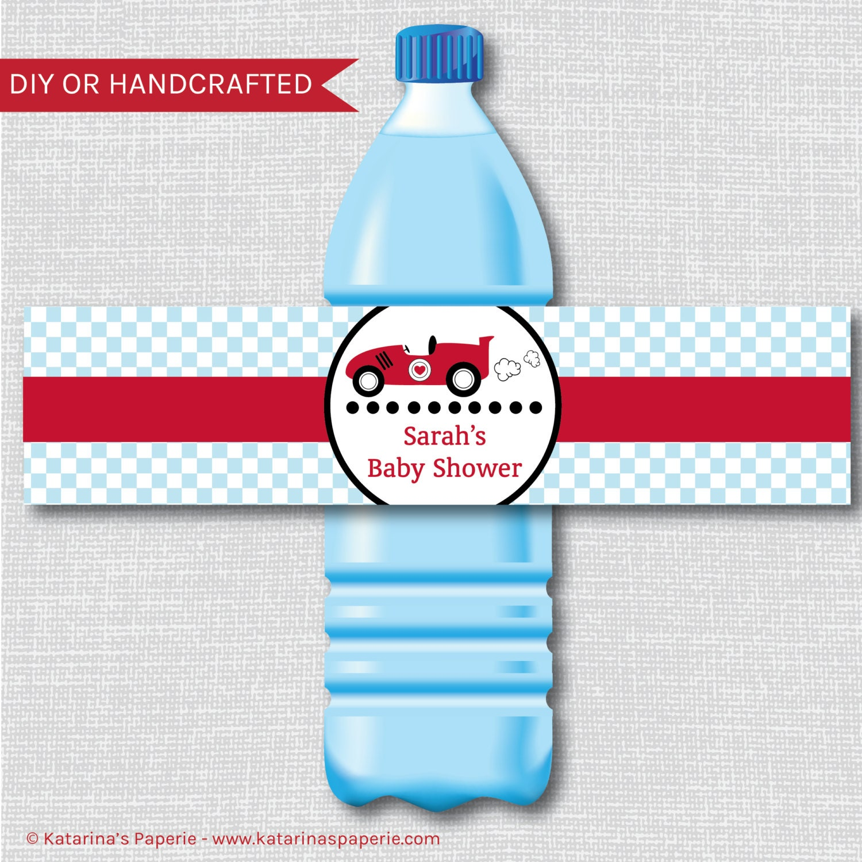 boy race car baby shower water bottle labels race car baby