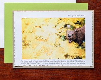 Funny Greeting Card •Bear and Dandelions Photo Card • Blank Card • Animal Tales Card • Animal Lover Gift •Woodland Animal Card