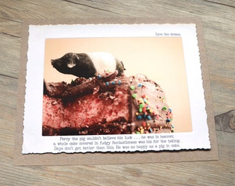 11x14 Funny Pig in Cake Wall Art • Humorous Print • Handmade Decor • Farm Animal Story•  Collectible Gifts for Friends • Fable Print