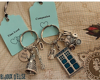 Couple Keychains Time Lord and Companion Keychains Police Box Blue Tardis And Robot Key chains