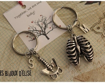 Set of 2 Personalized Ribcage and Spinal Column Keychains His and Hers Couple Keychain Best Frsends Keychains Valentine's Keychains