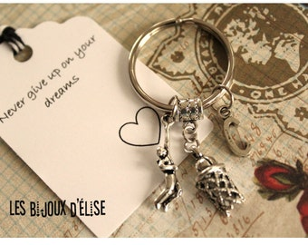 1 Personalized Basketball Keychain Sport Keychain Antique Silver