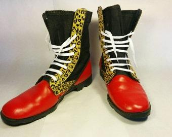 Punk rock boots, Leopard print combat boots, red combat boots, custom combat boots, crust punk boots, punk rock combat boots, leopard print