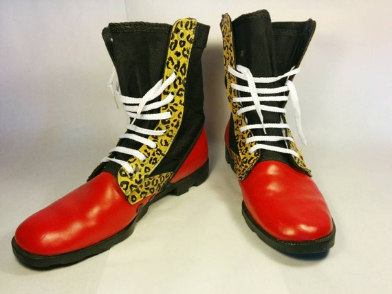 Punk rock boots Leopard print combat boots red combat boots