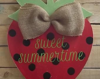 Sweet Summertime Strawberry door hanger
