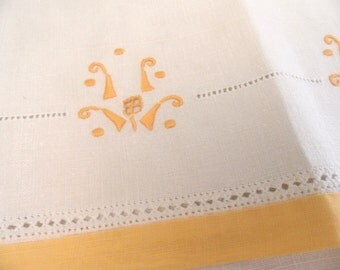 Linen guest hand towel with gold embroidery / vintage