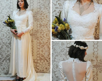 Vintage Beaded and Lace Wedding Dress with Chapel Train