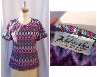 1960s Purple Pattern Top