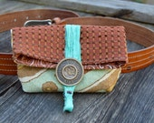 Rustic Waist/Bag Pouch . Belt Pouch . Small Bag . Fold Over Pouch . Turquoise Silk . Antique Button