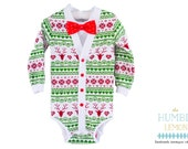 SALE Christmas/Holiday Baby Preppy Cardigan and Bow Tie Set: Reindeer Ugly Sweater Party Print w/ Interchangeable Tie Shirt and Bow Tie
