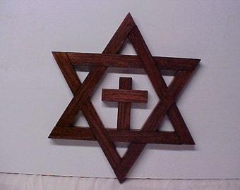 Jewish Star Star of David - Magen David 15 Inch With Cross