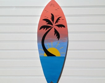 Hand Painted Tropical Sunset Wood Surfboard Sign, Wall Art, Beach Sign, Surf Decor, Beach House, Coastal Cottage Chic