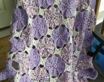Shaded lavender, Lavender, and White Blanket, Afghan, Throw, Hand Crocheted, Original Design