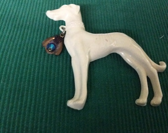 VINTAGE DOG BROOCH w/Brass & Bead Dog Tag Free Shipping