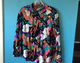 VINTAGE Keep on Trucking/The News is Color PSYCHEDIC BLOUSE , Ashleigh Morgan Sz M
