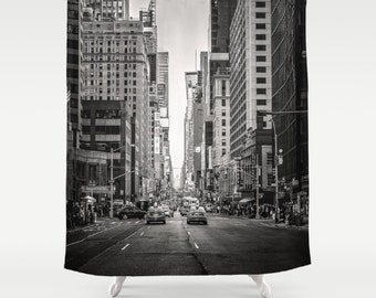 new york city shower curtain, nyc bath decor, nyc shower curtain, black and white nyc, urban bath, masculine bath, nyc decor, manhattan
