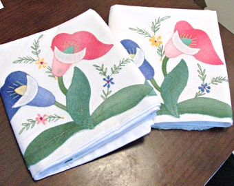 Vintage Antique Hand Appliqued/Embroidered Pillowcases