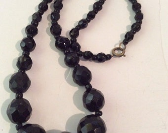 Black glass necklace 16 in