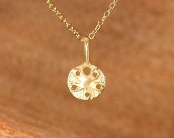 Sand dollar necklace - sea star necklace - gold sand dollar - beachy charm necklace - gift under 25 - tiny gold sand dollar