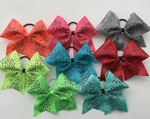 Neon cheer bow in your choice of color, cheer bow on a pony o, hair bow with gorgeous black polka dots on super bright colors, huge hair bow