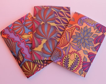 Colourful Notebooks, Lined Paper Notebooks, A5 Printed Notepads, Colourful Patterned A5 Notebooks, Set of 3 Notepads,