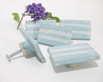 Blue and White Door Knobs, Ceramic Knobs, Cabinet Handles, Bespoke Drawer Knobs, Handmade Ceramics for Home Decor