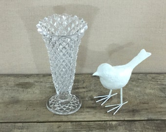 Vintage Diamond Cut Lead Crystal Vase