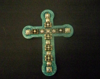 Hand embellished wooden cross