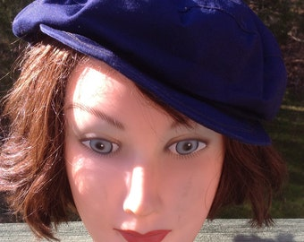 Vintage 70s ~ Men's Blue Messenger Hat, NewsBoy Cap, Cabby,