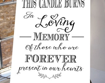 This Candle Burns, In Loving Memory, Wedding Sign, Memorial Table, Black/white, Printable INSTANT DOWNLOAD your wedding  Table  white suite