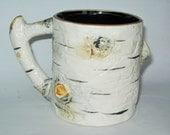 Dept. 56 Birch Bark Coffee Mug Vintage (1989) Department Hand-Painted Embossed Cup Porcelain Ceramic Birch Tree Trunk Raised Relief